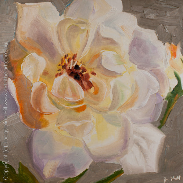 "DP137 ""Mum's White Rose"" Original Oil on Panel Painting by Jacqueline Hill"