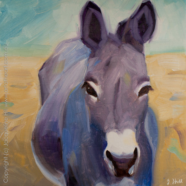 "DP138 ""Donkey IIo"" Original Oil on Panel Painting by Jacqueline Hill"