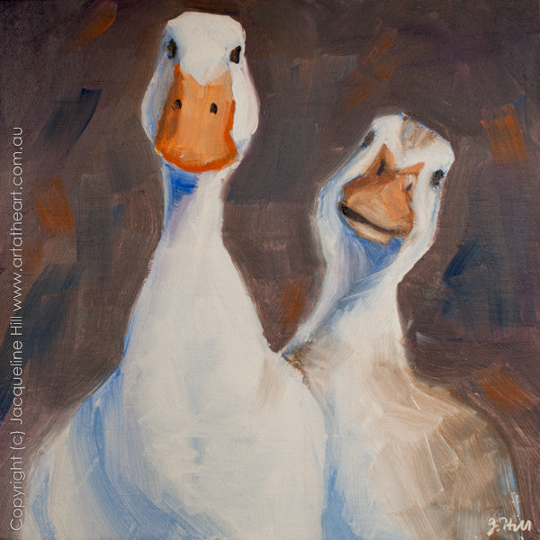 "DP139 ""Ducks"" Original Oil on Panel Painting by Jacqueline Hill"