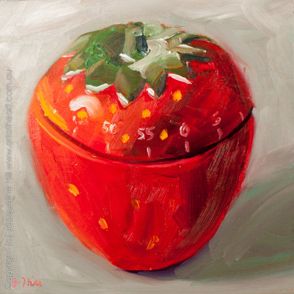 "DP140 ""Strawberry Minutes"" Original Oil on Panel Painting by Jacqueline Hill"