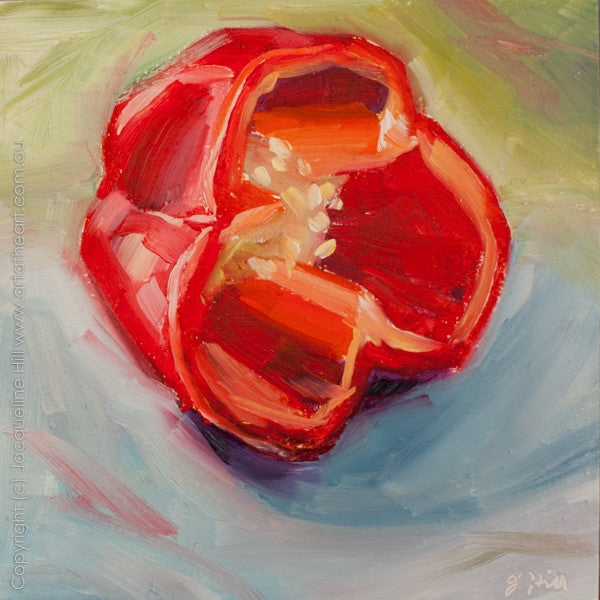 "DP145 ""Red Pepper with Dinner"" Original Oil on Panel Painting by Jacqueline Hill"
