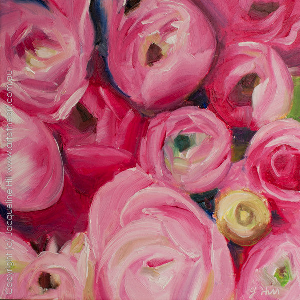 "DP146 ""Ranunculus II"" Original Oil on Panel Painting by Jacqueline Hill"