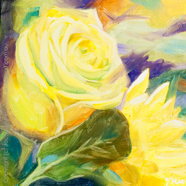 "DP147 ""Yellow Rose"" Original Oil on Panel Painting by Jacqueline Hill"