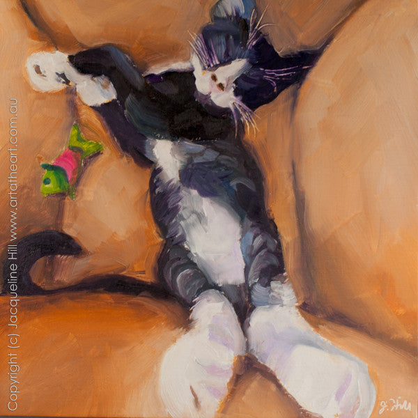 "DP149 ""Bootsie (All Catnipped Out)"" Original Oil on Panel Painting by Jacqueline Hill"