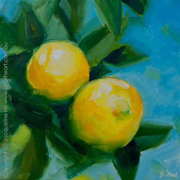 "DP150 ""Lemons"" Original Oil on Panel Painting by Jacqueline Hill"