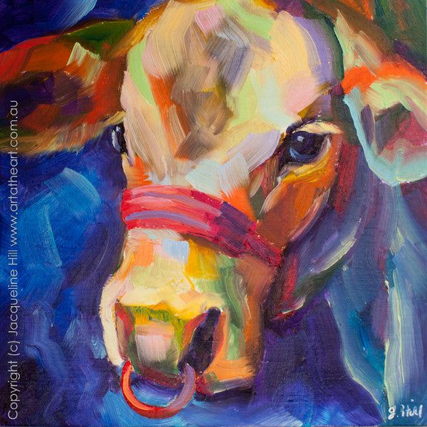 "DP152 ""No Bull"" Original Oil on Panel Painting by Jacqueline Hill"