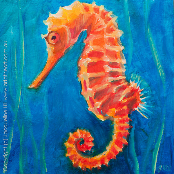 "DP153 ""Seahorse"" Original Oil on Panel Painting by Jacqueline Hill"