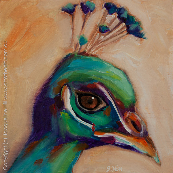 "DP158 ""Peacock"" Original Oil on Panel Painting by Jacqueline Hill"