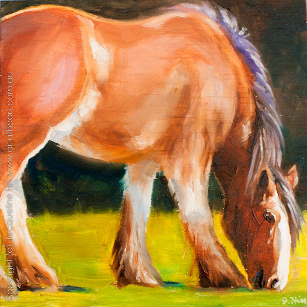 "DP161 ""Draught Horse"" Original Oil on Panel Painting by Jacqueline Hill"