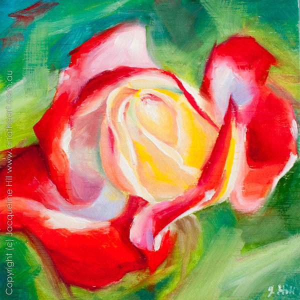 "DP165 ""Mumsy's Magical Rose"" Original Oil on Panel Painting by Jacqueline Hill"