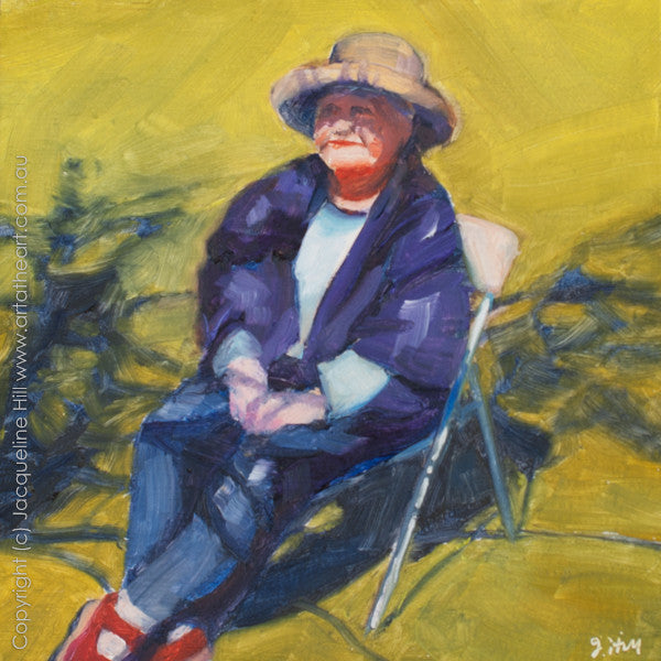 "DP166 ""Red Shoes in the Sun"" Original Oil on Panel Painting by Jacqueline Hill"