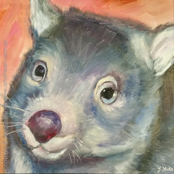 "DP171 ""Martha"" (Wombat II) Original Oil on Panel Painting by Jacqueline Hill"