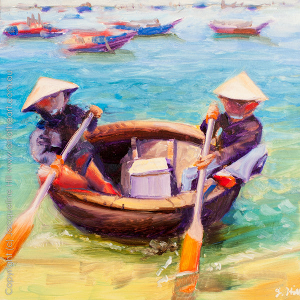 "DP172 ""Memories of Vietnam I (Round Boat)"" Original Oil on Panel Painting by Jacqueline Hill"