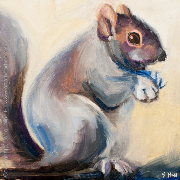 "DP177 ""Theodor"" (Squirrel) Original Oil on Panel Painting by Jacqueline Hill"