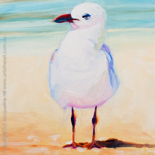 "DP180 ""Unimpressed"" (Seagull II) Original Oil on Panel Painting by Jacqueline Hill"