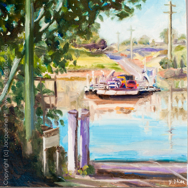 "DP181 ""Moggill Ferry"" Original Oil on Panel Painting by Jacqueline Hill"
