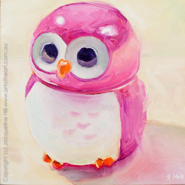"DP184 ""Owly"" Original Oil on Panel Painting by Jacqueline Hill"