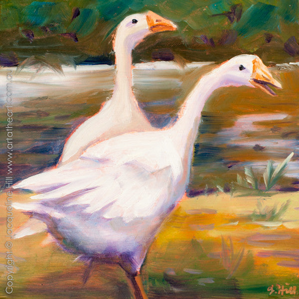 "DP196 ""Honkers"" Original Oil on Panel Painting by Jacqueline Hill"