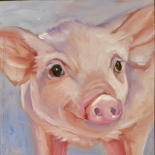"DP275 ""Happy As"" (Piglet IIo) Original Oil on Panel Painting by Jacqueline Hill"