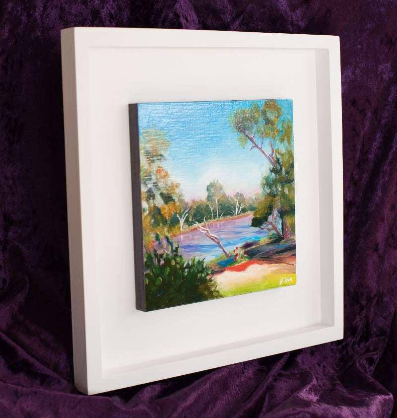 "Framing of 6"" Oil Daily Painting in 10x10x3/4"" Open White Box Frame"