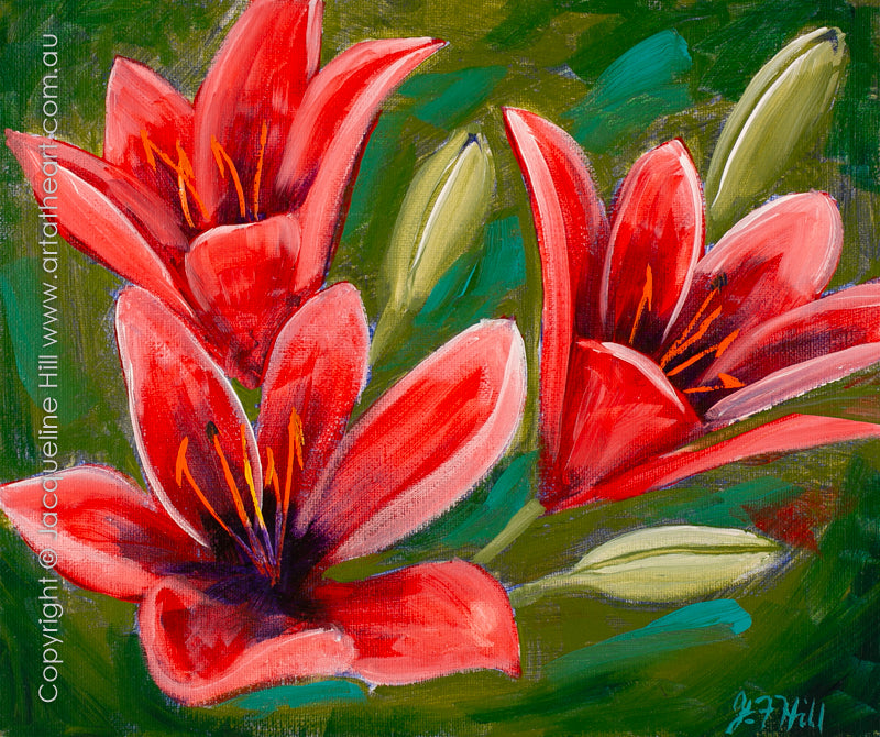 """Day Lilies (Red)"" Original Acrylic Painting by Jacqueline Hill [OR399]"