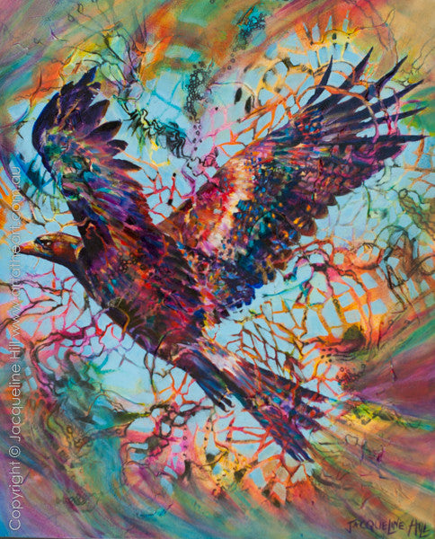 """Elevation (Wedge-tailed Eagle)"" Original Acrylic Painting by Jacqueline Hill [OR330]"
