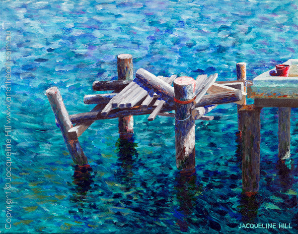 """Old Pier at Karumba "" Original Acrylic Painting by Jacqueline Hill [OR150]"