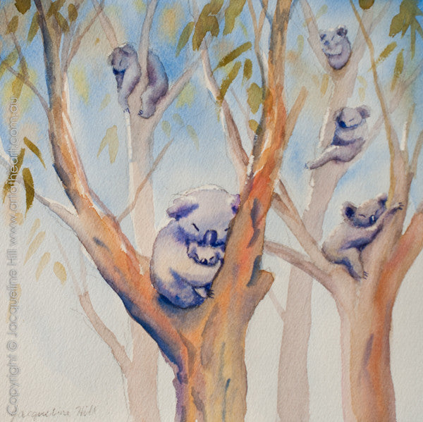 "06 ""Six Koalas Sleeping"" Original Watercolour Painting by Jacqueline Hill [OR288]"