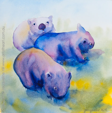 "03 ""Three Wombats"" Original Watercolour Painting by Jacqueline Hill [OR285]"