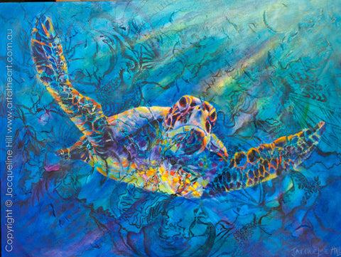 Turtle IIIa Original Acrylic Painting by Jacqueline Hill [OR329]