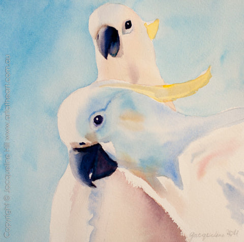 "02 ""Two Cockatoos"" Original Watercolour Painting by Jacqueline Hill [OR284]"