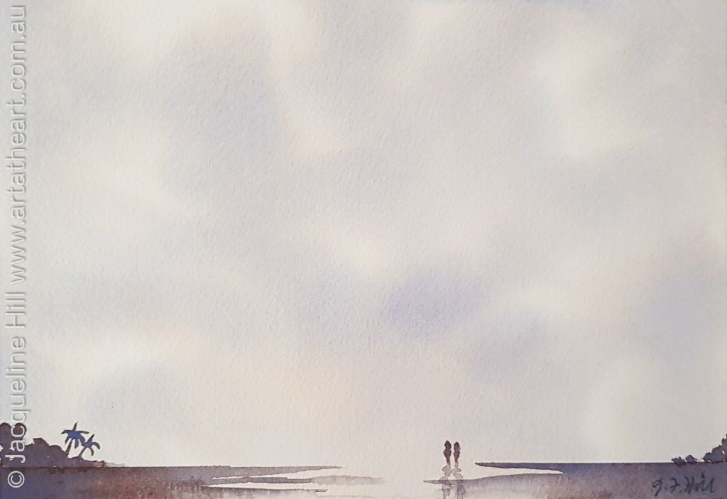 "DA100 ""Beach Stroll"" & ""Dancing Feet"" Original Watercolour Painting by Jacqueline Hill"