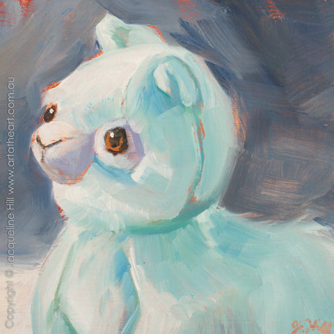 "DP286 ""Baby Llama"" Original Oil on Panel Painting by Jacqueline Hill"