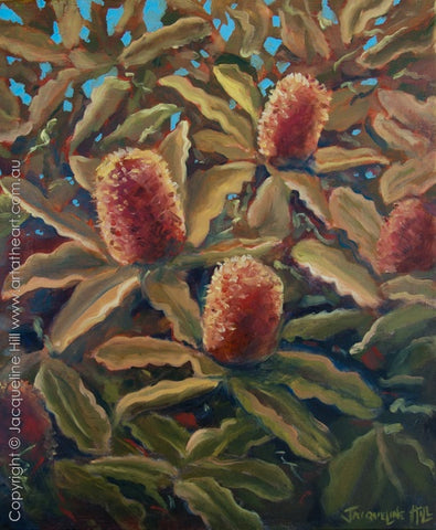 """Banksia IIo"" Original Oil Painting by Jacqueline Hill [OR372]"
