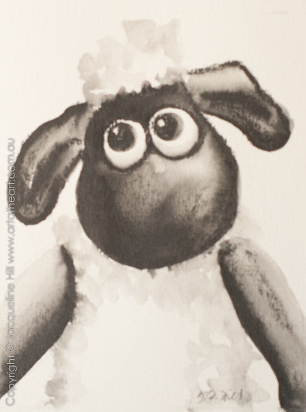 """Shaun the Sheep IIIg"" Original Graphite Painting by Jacqueline Hill [OR367]"