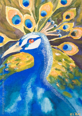 """Peacock I"" Original Watercolour Painting by Jacqueline Hill [OR354]"