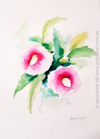 "DA345 ""Pink Belles"" (pink flowers) Original Watercolour Painting apx 10x14"" / 26x36cm by Jacqueline Hill"