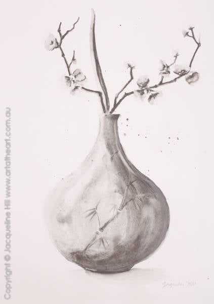 "DA157A ""Vase with Orchids"" Original Graphite by Jacqueline Hill [OR]"