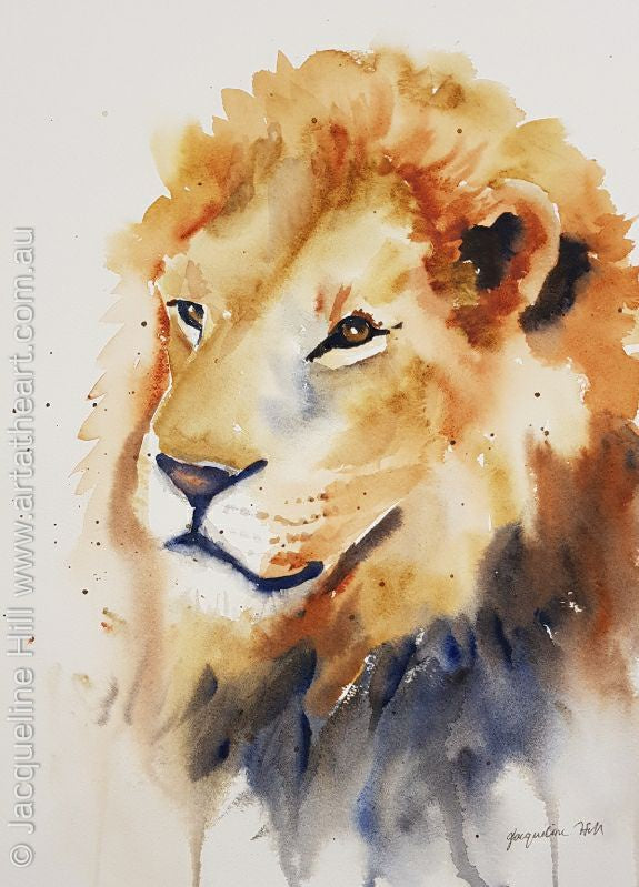 "DA130 ""The King - Lion"" Original Watercolour Painting by Jacqueline Hill"