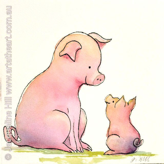 "DA071 ""Love My Mum"" (Piglet) Original Watercolour Painting apx 6x6"" / 15cm sq by Jacqueline Hill"