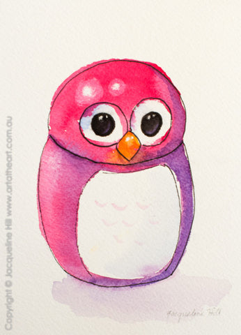 """Owly I-iw"" Original Watercolour & Ink Painting by Jacqueline Hill [OR258]"