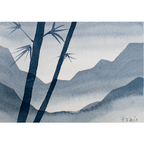"""Your Moment of Zen I"" Zen Series Original miniature watercolour painting by Jacqueline Hill [ZEN001]"
