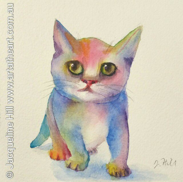 "DA053 ""Bold Kitteh"" Original Watercolour Painting by Jacqueline Hill"