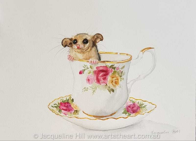 "DA178 ""Tea with Friends XVII (Tina the Mountain Pygmy Possum)"" Original Watercolour Painting 36/26cm by Jacqueline Hill"
