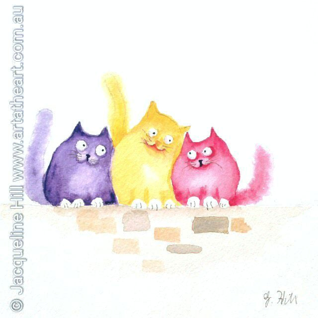 "DA047 ""Three Amigos"" Original Watercolour Painting apx 6x6"" / 15cm sq by Jacqueline Hill"