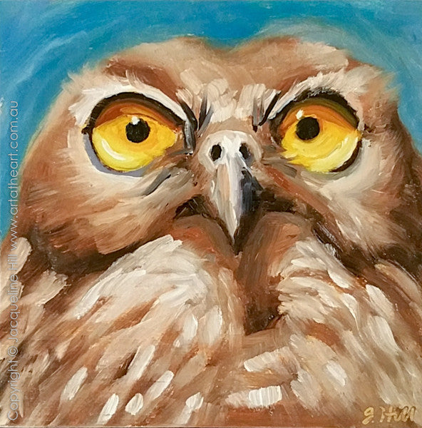 "DP305 ""Barking Mad"" (Barking Owl) Original Oil on Panel Painting by Jacqueline Hill"