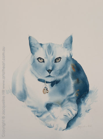 """Cat LX - Smokey Royal Gaze"" Original Framed Watercolour Painting by Jacqueline Hill [OR298]"