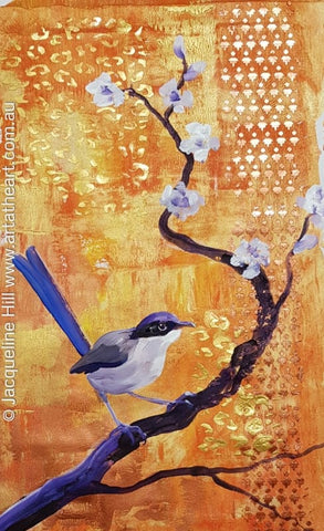 "DA247 ""Purple Crowned Royalty"" (fairy wren) Original Acrylic by Jacqueline Hill"