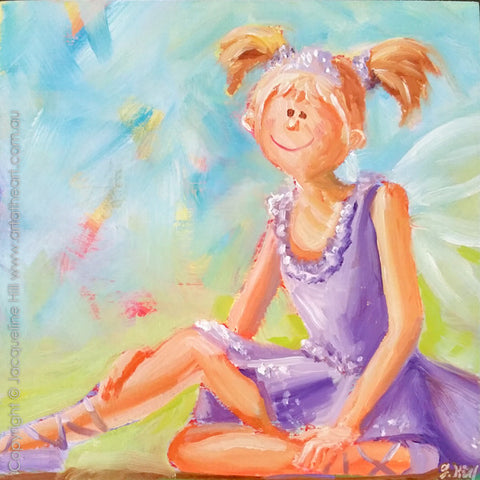 "DP302 ""Jacaranda Fairy Chat"" Original Oil on Panel Painting by Jacqueline Hill"