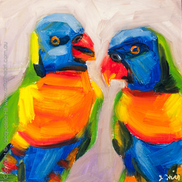 "DP253 ""Happy Chats"" Original Oil on Panel Painting by Jacqueline Hill"